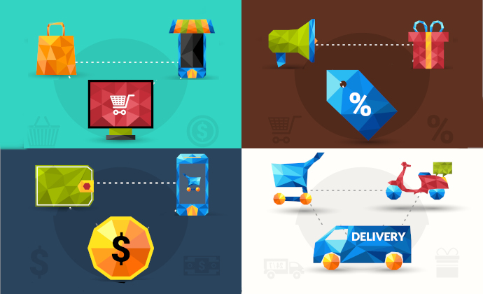 E-commerce design concept set with online market promotion payment delivery polygonal icons isolated vector illustration